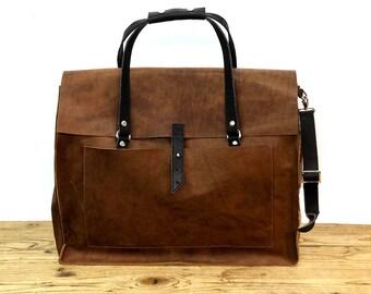 Large leather bag | Etsy
