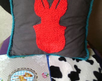 Pillow stag embroidered cotton and crochet