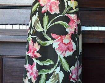 Floral A line silk skirt