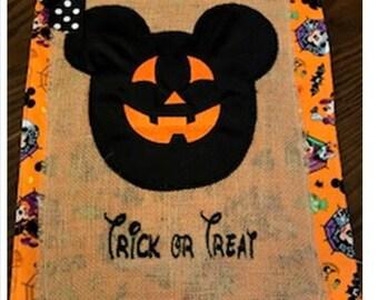 Jack O Lantern Mouse Burlap  Halloween Fall Embroidered Appliqued Garden Flag Door Hanger
