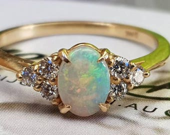 14K yellow gold opal and diamond engagement ring