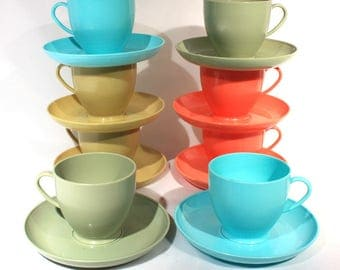 Set of 8 RARE Arnoldware Lady Arnold Plastic Cup and Saucer Set, Aqua Blue, Orange, Gold, Olive Green