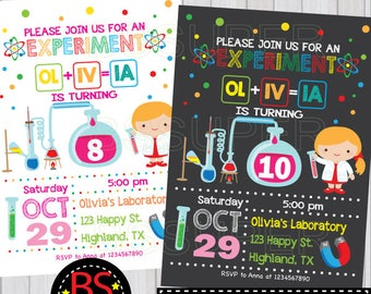 Science birthday Invitation, Science party invites, Mad Science birthday party invitation