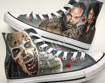 Custom Hand Painted Walking Dead Inspired Converse Hi Tops Shoes Sneakers All sizes.Advance order to be painted from Sept-December 2017