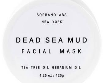 DEAD SEA MUD Mask. Spa Detoxifying Mineral Face & Body Treatment. Tea Tree and Geranium Oils. Vegan.