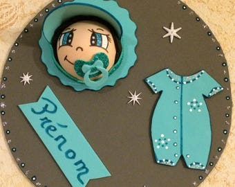 Door plate personalized with small name and 3D character