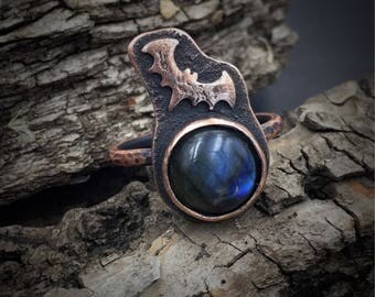 Labradorite Ring | Copper Smithed | Copper Ring | Size 9