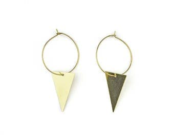 Brass hoop earrings with geometric pendant-VI