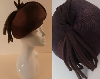 Vintage 60's Deep Beret Hat in Chocolate Brown Straw with Chiffon Fabric Trim made by Kangol