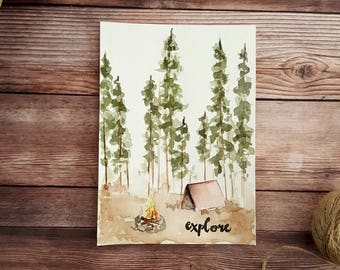 Nature Quote, Calligraphy Art, Camping, Pine Trees, Nature Painting, Forest Watercolor, Hiking