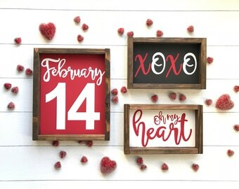Set of 3 Pink or Red Valentine's signs. Three Valentine's wood sign. Valentine decor. Farmhouse style decor. Farmhouse decor. Holiday decor.