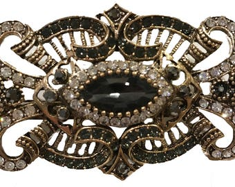 New Art Deco With Onyx Black Crystal Hair 3 '' Barrette Lever Back