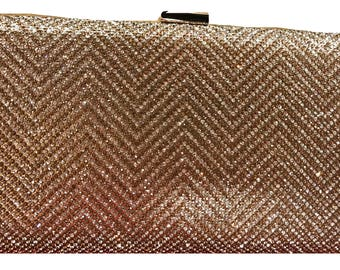 New Gold Herringbone With Gold Rhinestone  Evening Clutch Handbag