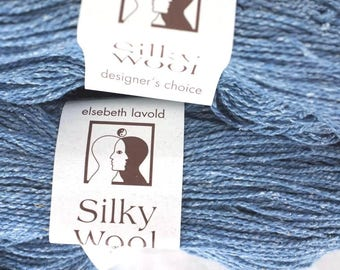 LOT OF 2 - Elsebeth Lavold Silky Wool in Neptune Blue, #087 wool and silk knitting yarn