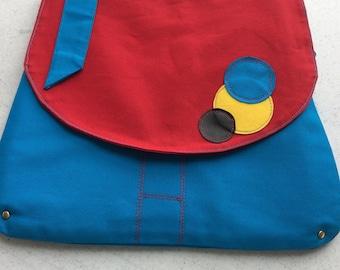 funky handbag, Canvas messenger bag, Handmade Messenger bag, Crossbody, shoulder bag, laptop bag, handmade bag, one of a kind bag