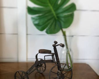 FREE SHIPPING | Vintage Tricycle | Wood and Metal Miniature | vintage Decor