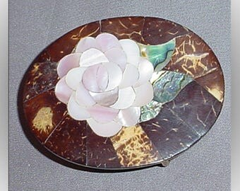 Vintage Shell Inlay Floral Belt Buckle