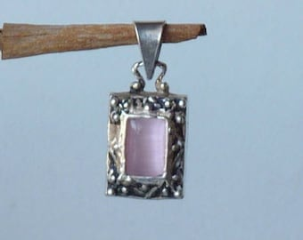 Vintage Sterling Silver and Cats Eye Penadnt, Pink Glass Pendant, Filigree Cats Eye, Small Rectangular Filigree Pendant, 70's Jewelry