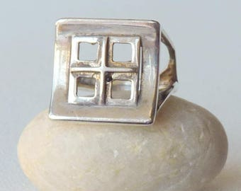 Vintage Modernist Ring Sterling Silver Geometrical Modern Ring, Size 6 Ring, Modern Window Ring, Silver Modernist Design, 925 Mod Ring