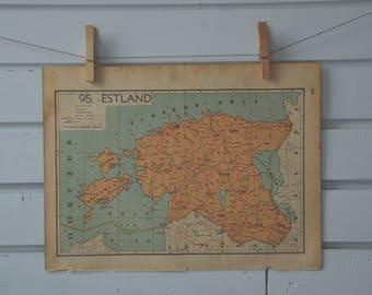 1941 Vintage Estonia Map