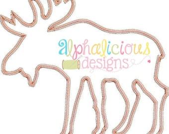 Moose Embroidery Design - Woodland Design - Forest Design - Embroidery Design - Applique Design - Zig Zag Embroidery Design