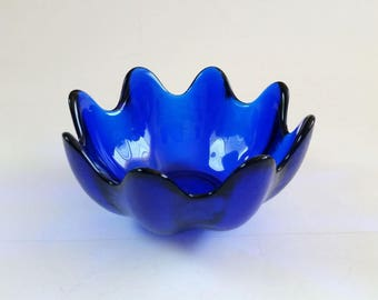 Vintage Glass Bowl | Cobalt Blue Bowl | Blenko Collection
