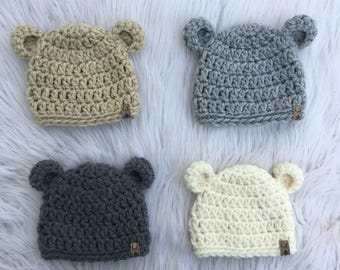 Crochet Bear Hat | Baby Hat | Newborn Hat | PICK YOUR SIZE | Baby Shower Gift | Newborn Photo Prop | Crochet PhotoProp | Newborn Baby Beanie
