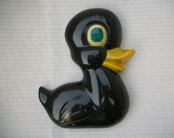 Chalk Ware Duck Black Cute Mid Century Chalkware Wall Decor