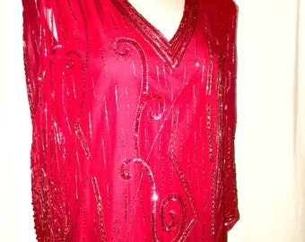 Vintage Red Laurence Kazar Flapper Style Dress