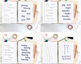 4 BULLET JOURNAL STENCILS • Planner Stencil • Bujo • Letter Alphabet Months Week Days Calendar • Fits any Planner •  Free Shipping • Set 02A
