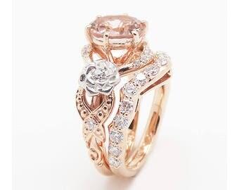 Morganite Engagement Ring Set 14K Rose and White Gold Morganite Rings Floral Engagement Ring with Matching Diamond Band