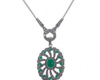 Malachite Flower Necklace