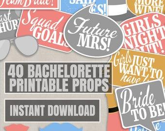 40 Bachelorette photo props, bridal shower party photo booth props, bridal party selfie props, bachelorette photobooth props, bridal shower