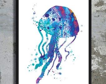 SUMMER SALE Blue Jellyfish Watercolor Jellyfish Print Jellyfish painting Sealife art Sea animal Nautical Ocean Watercolor Octopus art Jellyf