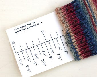 The Sock Ruler - both metric & imperial measurements.