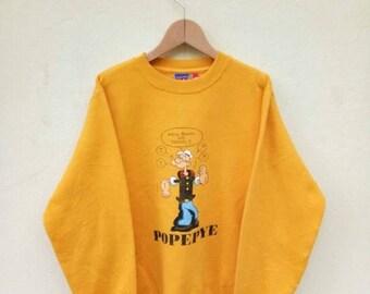 BIG SALE Vintage Popeye Yellow Sweatshirt Nice Design/Popeye Cartoon Shirt