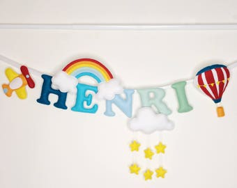 Name banner-planes-hot air balloon theme-felt name garland-name bunting-nursery decor-baby shower gift-personalised gift