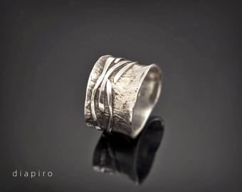 Sterling Silver, Ring, Handmade, Chunky, Textured, Wide, Contemporary