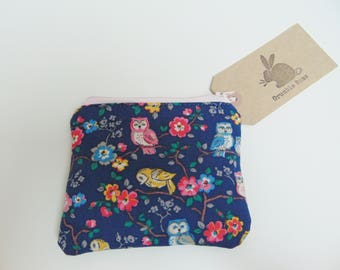 Handmade Owl Coin Purse, Cath Kidston Fabric, Ditsy Birds Coin Wallet or Pouch