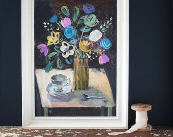 Botanical still life art print, flowers in a vase, wall art, giclée print, high quality, colourful floral print, for her, for a woman, art