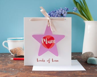 Mum star gift on a birthday card, mother's day card, personalised card with hanging star decoration, for a mummy, hand painted wood, for her