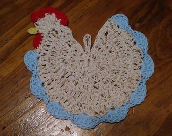 Crocheted Chicken Potholder / Crocheted Hot Pad