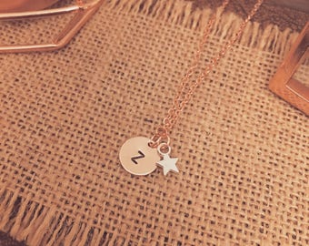 Hand Stamped Initial Disc Necklace with Mini Star Charm - Available in Gold/Silver Plated Options