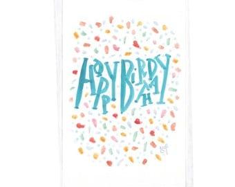 Happy Birthday Confetti Card - 5 x 7 in. Teal Blue Lettering - Multi-Color Confetti