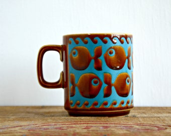 John Clappison Hornsea England Fish Mug, 1970's Retro Brown and Turquoise Blue Fish Mug