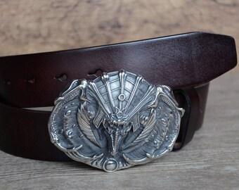 Mens Leather Belt/Dark Brown/Cowskin Belt/Steel Buckle