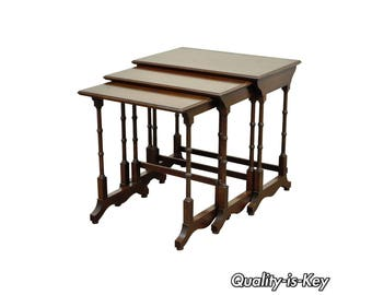 Charming Vintage Ethan Allen Georgian Court Solid Cherry Nesting Nest Of Side End  Tables