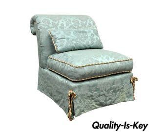 Vanguard Furniture Rolled Back Blue Upholstered Slipper Lounge Accent Chair
