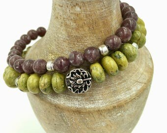 Charm bracelet, Mala bracelet, Tribal bracelet, Boho bracelet, Handmade bracelet, Atlantisite, Chakra bracelet, POSITIVITY bracelet