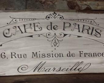 CAFE de PARIS Sign/Paris Decor/Cafe/Coffee Shop/Bakery Sign/Kitchen Sign